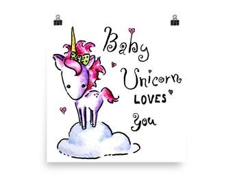 Baby Unicorn Poster, Baby Unicorn Wall Art, Unicorn Print, Cute Unicorn Wall Art, Baby Unicorn Artwork, Unicorn Art, White & Pink Unicorn