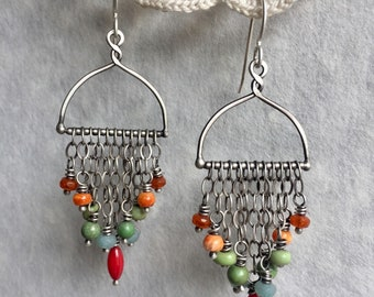 Boho Earrings, Chandelier Earrings, Colorful Earrings