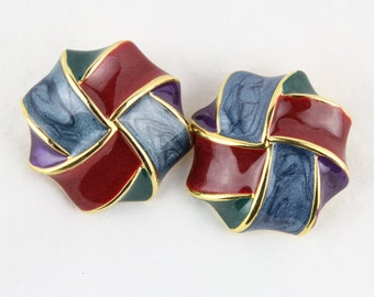 80's Gold Accented Large Abstract Clip On Earrings