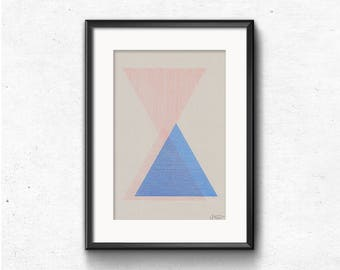 Abstract geometric print, A4 riso poster, midcentury modern artwork, triangle wall art, minimalist print, original illustration, home decor