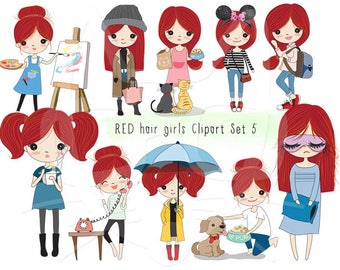 Red hair girl Clip art set 5 , instant download PNG file - 300 dpi