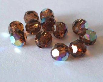 SWAROVSKI Beads 5000 Round SMOKED Topaz AB
