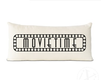 unique movie time theater pillow, personalized theater room decor, couch pillow, movie time pillow, theater room decor