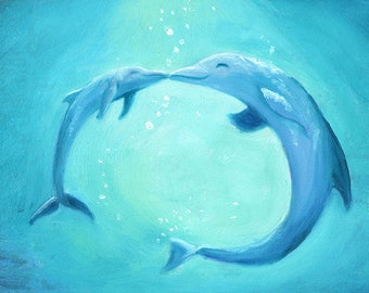 Fine Art Print of Mom and Baby Dolphin