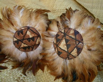 Feathered & Tapa Cloth Hawaiian Hand Rattles ~ ʻUlīʻulī ~ Hula Dance Implements Ready To Ship