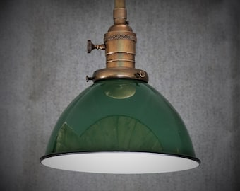 Semi Flush Light Fixture w/ Green Porcelain Enamel Shade and Down Rod - Antique Reproduction Fixtures - Hand Finished Brass