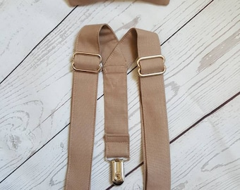 Biscotti Suspender and Bow Tie Set Free Shipping Offer Color Match To David's Bridal Biscotti Sizes Newborn to Adult