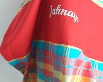 Baby, child, soft, personalized blanket - red madras blanket