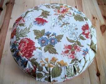 "Multicolor Floral Meditation Cushion. Zafu. Floor/Dorm Pillow. Buckwheat hull filled. 15""x5"". 6""L. Velcro Closure. Handmade, USA by ZafuChi"