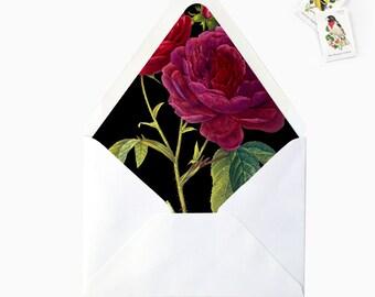 Dark Marsala Burgundy Rose Floral Flower Envelope Liner, DIY Printable Garden Wedding Invitations