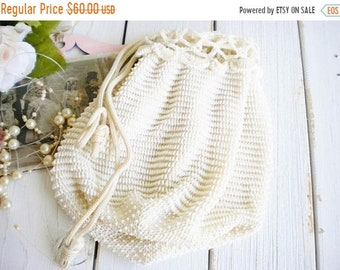 Sale Vintage Crochet Beaded Wedding Bag In Ivory White /Bridal Drawstring Wedding Bag/ Money Bag/ Shabby French/Something Old