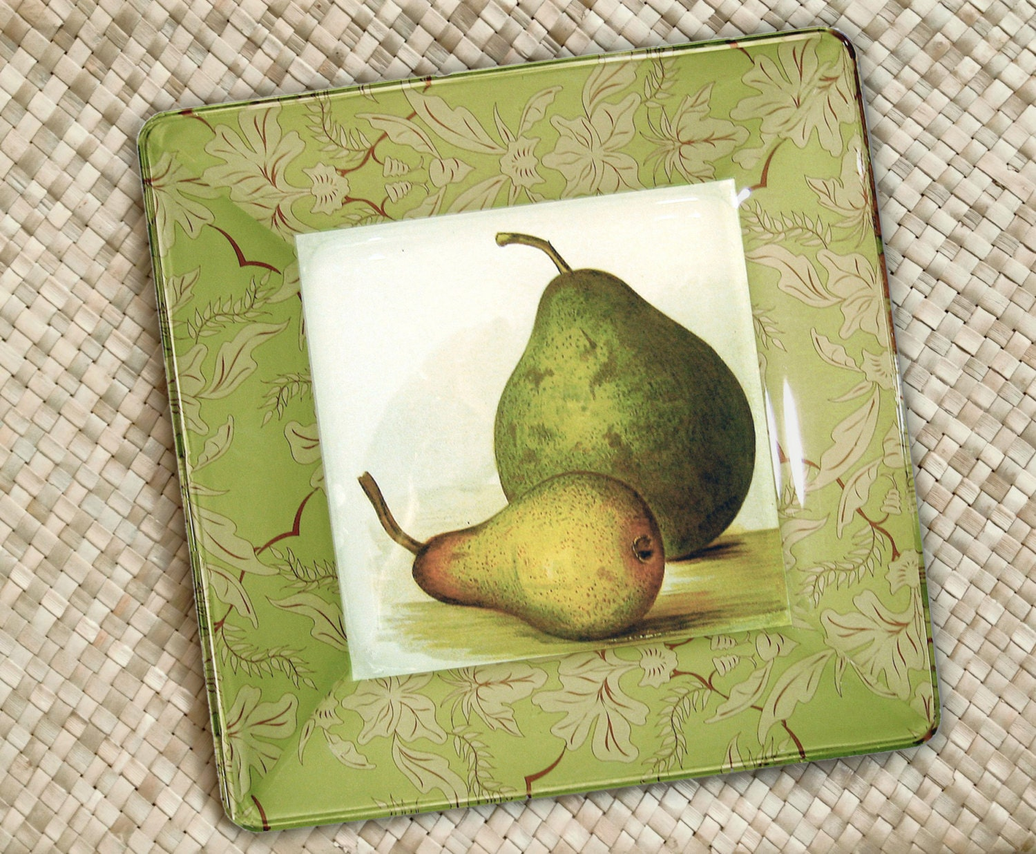 Pears hanging plate kitchen decor botanical print decoupage
