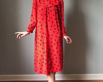 Vintage 80s Red Babydoll Dress