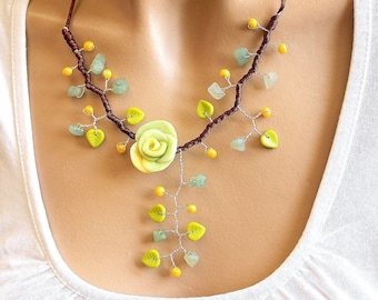 Necklace green yellow and Brown floral