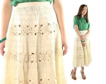 Vintage 40s Raffia Straw Skirt Full Midi Skirt Tea Length Skirt Ivory Scalloped 1940s Small S XS High Waisted Skirt Rockabilly Pinup Skirt