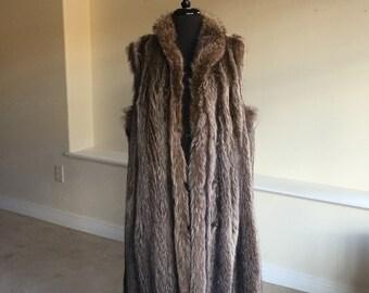 Vintage Long Brown Gray Raccoon Fur Vest Coat 1960 1970