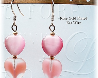 Heart Earrings, Pink Heart Earrings, Pink Earrings, Pink and Copper Earrings - E2012-22