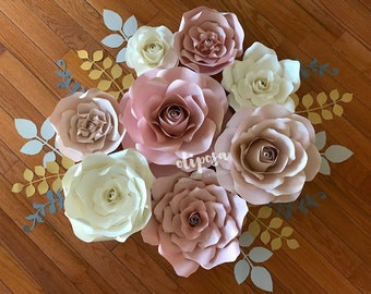 8 pc Paper Flower Wall Art, paper flowers, nursery decor, toddler room, home decor, Customize your colors