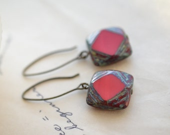 Red Antique Earrings, Czech Glass Beads, Brass, Neo Vintage Jewelry
