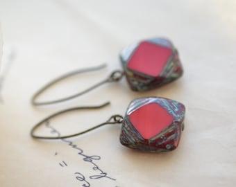 Red Antique Earrings, Czech Glass Beads, Brass, Neo Vintage Jewelry