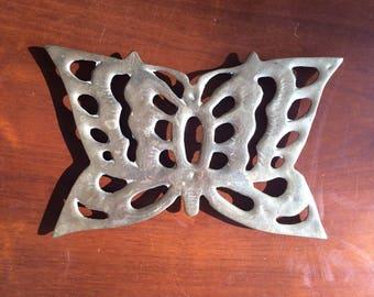 "Large Brass Gold Butterfly Trivet/ Pot Rest, 9"""
