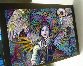 greeting card print of original art-  steampunk angel