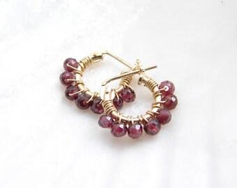 January Birthday Tiny Garnet Hoop Earrings ~ Genuine Garnet Stones ~ 14K GF Hoop Earrings ~ Wire Wrapped Faceted Garnet Beads