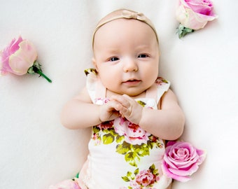 Photo Baby Girl Romper 1st Birthday Girl Outfit First Birthday Outfit Girl Pink Romper Baby Girl Pink Lace Romper Baby Sunsuit Vintage Baby
