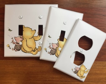 Classic Winnie the Pooh Light switch plate cover // Piglet baby nursery Personalized // SAME DAY SHIPPING**