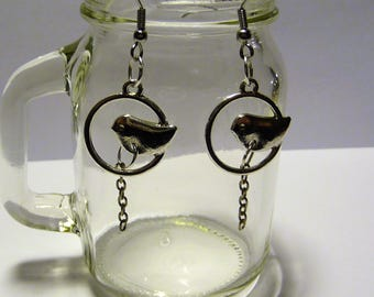 HITCHCOCK: Bird and earrings silver chain