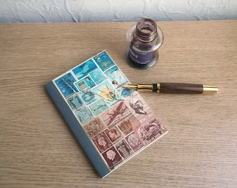 Postage Stamp Notebook Journal | Father's Day Gift, Office Gift | Blue Brown Abstract Landscape Postal Stamp Art | Philately Stamp Collector