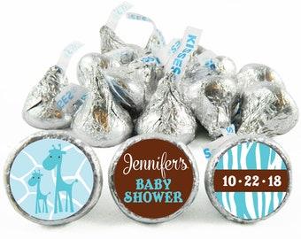 Set of 108 - Blue Wild Safari Baby Shower Stickers for Hershey's Kisses. Giraffe Shower Favors - Giraffe Kiss Stickers - #IDBBS606