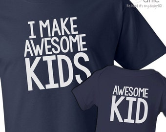 I make awesome kids dad Tshirt and awesome kid (or baby) bodysuit custom DARK gift set - great gift for Father's Day aBAmDw