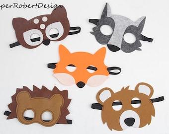 SET von 5 Kinder Tiere Masken, Tierkostüme, Bär, Tier Partei Dekorationen, Woodlands Party, Hirsch-Maske, Fuchs Maske, Tiere, Katzen-Maske, Wolf