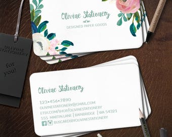 Printed Personalized Business Card, 2 sided Custom Business Card, Square Calling Card, Contact Card, Pink and White Flowers