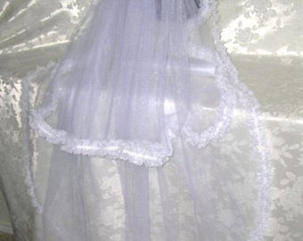 On Sale Two Tiered Fingertip Veil Edged in a Beautiful Irridescent Lace, THE GENEVIEVE