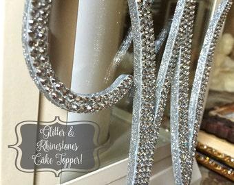 "Bling Wedding Cake Topper - Glitter Crystal Rhinestone Monogram Initial Letter (6"" Tall) | A B C D E F G H I J K L M N O P Q R S T U V"