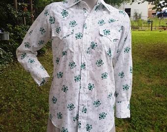 Vintage Western Shirt, Western Fashions, Rockabilly, Shamrock Shirt, 70s Shirt, Vintage Costume, Womens Western  Shirt, Vintage Shirt