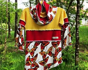 Kind-Kleid mit verstellbaren Kragen, langen Ärmeln Baumwolle Jersey Patchwork und gelb, rot und weiß.