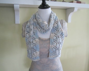Hand Made Knit Cotton Yarn Spring Summer Scarf Accessory