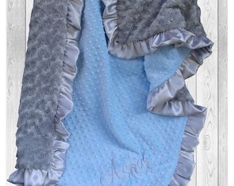 Gray and Blue Minky Baby Blanket for a Baby Boy, Silver Satin Ruffle Minky Blanket available in three sizes,