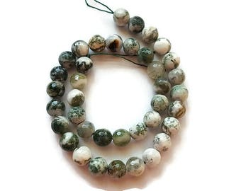 """Fire Agate 15"""" Round Faceted Bead Strand Green and White 10mm (1)"""
