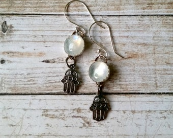 Moonstone Earrings with Silver Hamsa Dangles