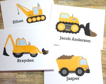 Dump Truck Stationery Set - Personalized Boys Stationary - Kids Cards -Construction Cards - Thank You Cards - Yellow Construction Truck Card