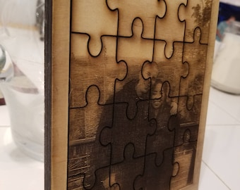 laser engraved wedding family photo engraving frame wood picture gift mom custom personalized PUZZLE