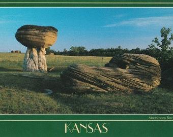 Vintage 1980s Postcard Kansas Mushroom Rocks State Park Formation Geology Concretions Oceanic Satellite View Photochrome Era Postally Unused