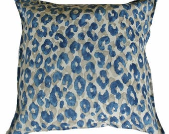 Outdoor / Indoor Blue Leopard Spot Cushion Cover