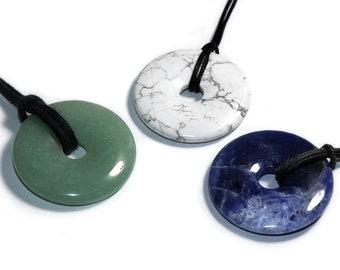 Sodalite, magnesite, aventurine (donut) on cotton cord (necklace)