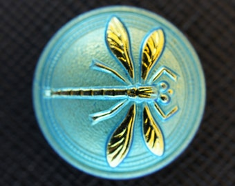 Czech Glass  Cabochon Blue-Green Gold Dragonfly (without brass eyelet)  size 8, 18mm 1 pc (BUT15077/8)