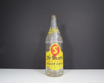 Vintage Root Beer Bottle // Dr. Swett's Early American Root Beer Large Glass Bottle Worn Rustic Home Decor Vase Retro Advertising Yellow Red